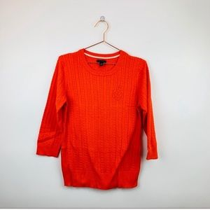 Tommy Hilfiger orange cable knit sweater